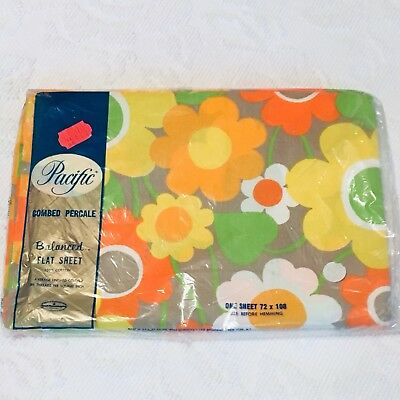 NOS Vintage Flower Power Flat Sheet Mod Floral By Pacific NIP