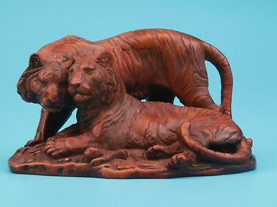 Vintage Chinese Boxwood Statue Old Hand-Carved Animal Tiger Mascot Decorated
