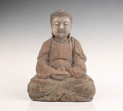Big Chinese Tibet Old Wood Hand Carved Buddha Statue Feng Shui Blessing Figure