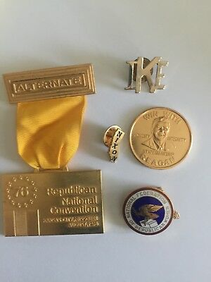 REPUBLICAN national convention badge+ IKE , NIXON,REAGAN Pins & Woman Republ