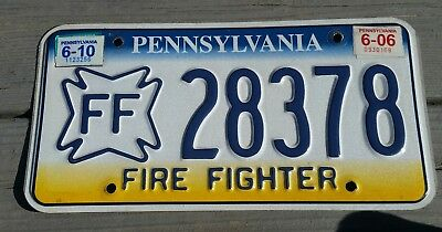 2010 's PENNSYLVANIA Fire Fighter License Plate. Very hard to find!