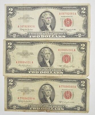 Lot (3) Red Seal $2.00 US 1953 or 1963 Notes - Currency Collection *301
