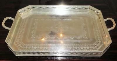 Antique Victorian Christofle Silver Plate 2 Handle Serving or Tea Tray