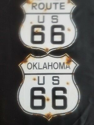 """""""Route 66""""Oklahoma"""" Route 66 vintage steel porcelain road sign"""