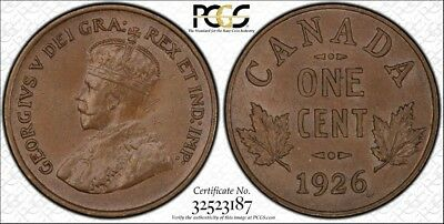 1926 PCGS MS63BN Canada Small One Cent - Gold Shield Holder - Tough Date! Penny