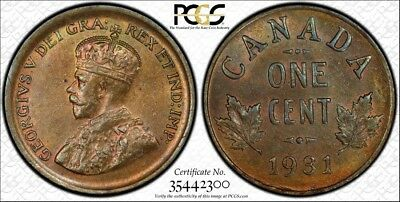 1931 PCGS MS63BN Canada Small One Cent - Gold Shield Holder - Penny