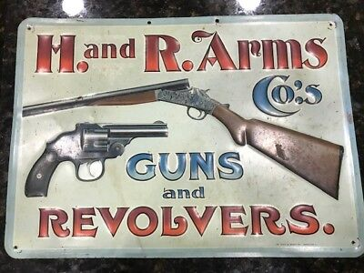 "ANTIQUE H&R ARMS MEEK and BEACH TIN SIGN ""GUNS AND REVOLVERS"""
