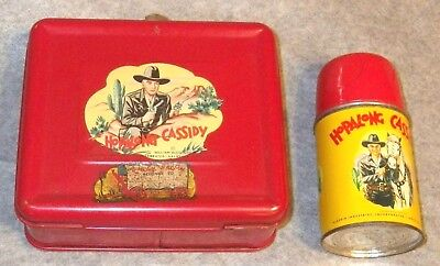 Vintage Hopalong Cassidy Red Lunch Box And Matching Thermos, 1950's, Nice Cond.