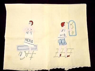Vintage Pair His & Hers Naughty Risque Towels Appliqued & Embroidered