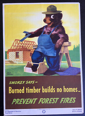 "Vintage SMOKEY THE BEAR. Poster:""SMOKEY SAYS- BURNED TIMBER BUILDS NO HOMES.1946"