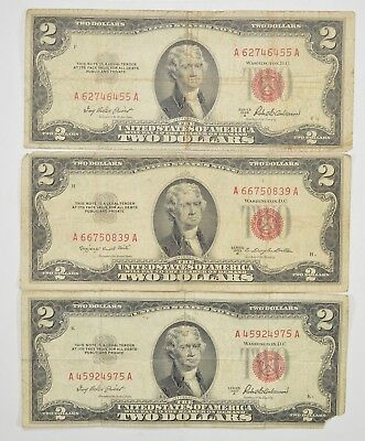 Lot (3) Red Seal $2.00 US 1953 or 1963 Notes - Currency Collection *300