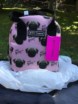 Pug Lunch Tote Blush/Black By Betsey Johnson New Adorable!