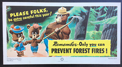 "Vintage FOREST SERVICE POSTER. 'PLEASE FOLKS, BE EXTRA CAREFUL THIS YEAR""  1946"