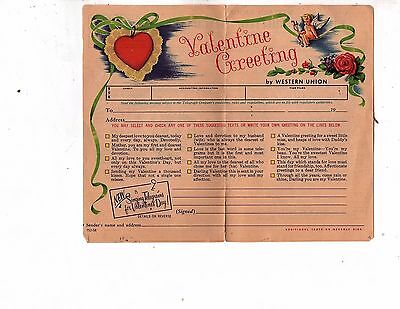 VINTAGE VERY OLD VALENTINE DAY GREETING MESSAGE  two BY WESTERN UNION (gary 7