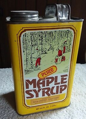 Vintage Pure Maple Syrup 2 Qt Tin Can Serving Suggestions On Back Lodi Wisconsin