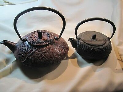 Tetsubin Cast Iron Teapots - Two - One Red Bamboo Leaf and One Small Black.