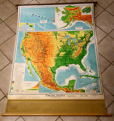 VINTAGE DENOYER-GEPPERT UNITED States & Mexico Relief Pull-down Map, J1vr