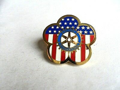 Vintage Rotary International Patriotic Stars and Stripes Lapel Pin