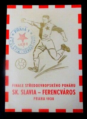 1938 Continental postcard of Soccer Finals of Central European Cup in Prague Wit