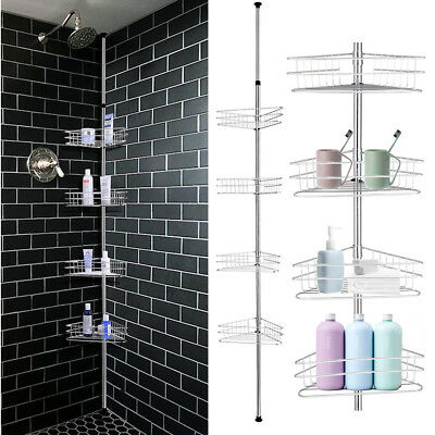 Bathroom Tension Pole Shower Caddy Corner 4 Tier Bath Rack Organizer