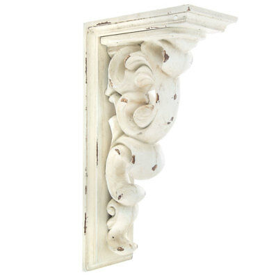 TWO Rustic Large Corbels Vintage Antique Distressed Wood Scroll White Decor