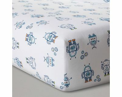 Cloud Island Baby Fitted Crib Size Sheet 100% Cotton 52 x 28, Robot