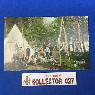 Boy Scout Post Card Camp In The Adirondacks Mailed 1913