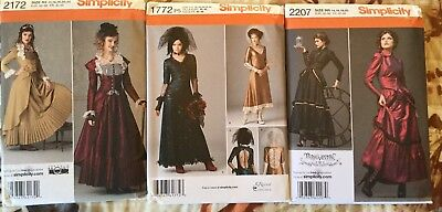 Simplicity 1772 2172 2207 Steampunk Gothic Edwardian Costume Pattern 14-20 Uncut