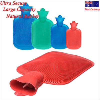 Natural Rubber HOT WATER BOTTLE Bag WARM Relaxing Heat / Cold Therapy NEW AU