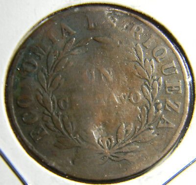Chile 1851 large  centavo coin  (0474)  30mm