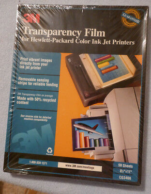 3M Transparency Film Hewlett-Packard Color Ink Jet Printers sealed pck 50 sheets