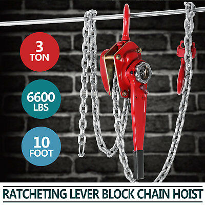 3 Ton 3M Lever Block Chain Hoist Puller Pulley Safety Crane Lifting Hook New