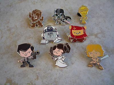 Pin Trading Disney Pins Lot of 8 Set Star Wars Darth R2-D2 Leia Han Solo Chewie