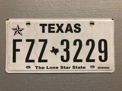 Texas  *the Lone Star State *license Plate White Random Numbers/letters