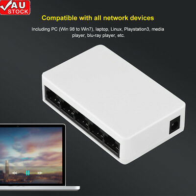 5 Ports Fast Ethernet RJ45 10/100Mbps Network Switch Switcher Hub power by USB