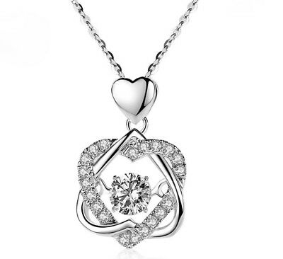 """Love Heart 925 Sterling Silver Micro-inlay CZ Star Moving Pendant Necklace w 18"""""""