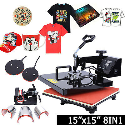 8in1 15x15 Sublimation T-Shirt Heat Press Transfer Mug Plate Printer Machine DIY