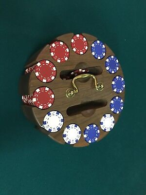Vintage Wood Poker Chip Holder Caddy Carousel Lazy Susan With Cardboard Chips