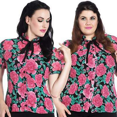 Hell Bunny Eden Rose Floral Top Retro Rockabilly Vintage Inspired Blouse Office