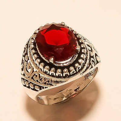 Maxican Red Apatite Gemstone Silver Tone Fashion Jewelry Thank Giving Day Ring