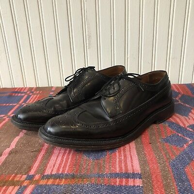 Plymouth Shop Dark Brown Leather Mens 11 Vintage 60s V-Cleat Wingtip Dress Shoes