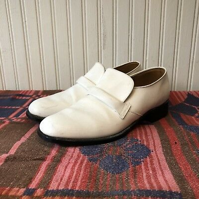 Thomas Atwood White Leather Mens 9.5 D Vintage 70s Grandpa Disco Loafer Shoes