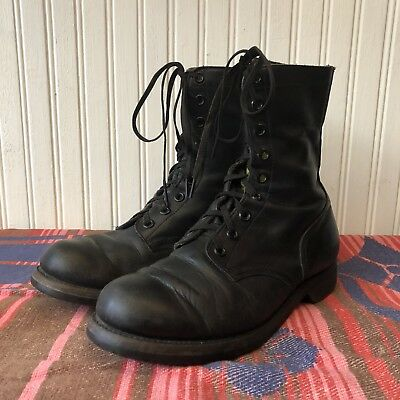 US Army Vietnam Mens 9 R Vintage 1960s Black Leather Combat Jump Boots