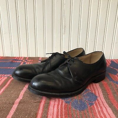 Guard Aire Union Made Black Leather Mens 9 Vintage 50s Steel Toe Dress Shoes