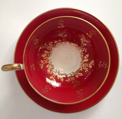 Aynsley Fine English Bone China Tea Cup & Saucer Red Gold Gilded