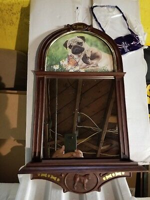 NIB Danbury Mint THE PUG MIRROR Pug Wall display VERY NICE