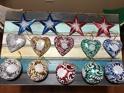 14 PC Solid Wood Premium 3D Hand Carved Decorated Christmas Star Ornament Set