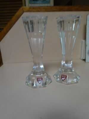 ORREFORS pair of solid glass candlestick  holders