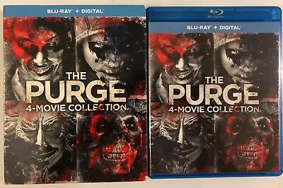 The Purge 4 Movie Collection Blu Ray 4 Disc Set + Slipcover Sleeve Free Shipping