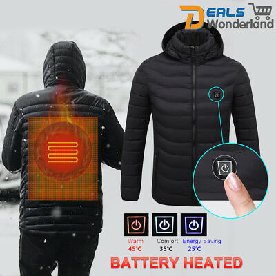 Men's Electric Battery Heated Hoodie Jacket Coats Adjustable Temp Winter